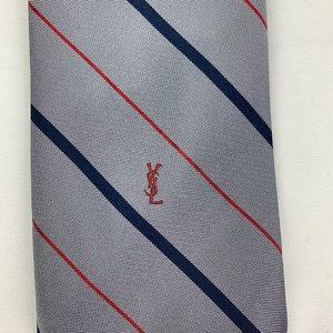 Yves Saint Laurent Gray Silk Tie Blue & Red Stripe